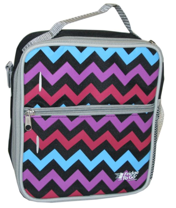 Fridge to Go Lunch Box Med Chevron Pink